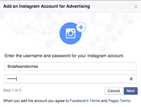 add an instagram account for advertising