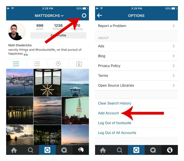 add additional accounts on instagram