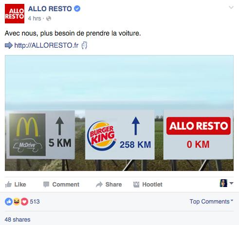 Allo Resto publicité comparative