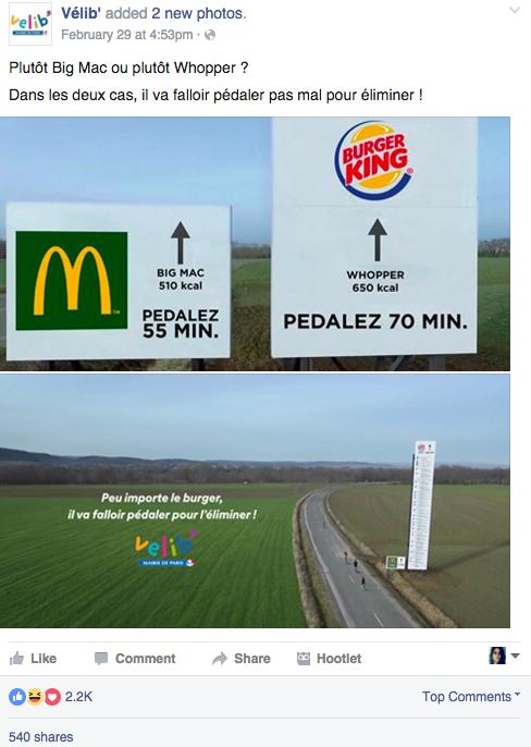 Velib publicité comparative