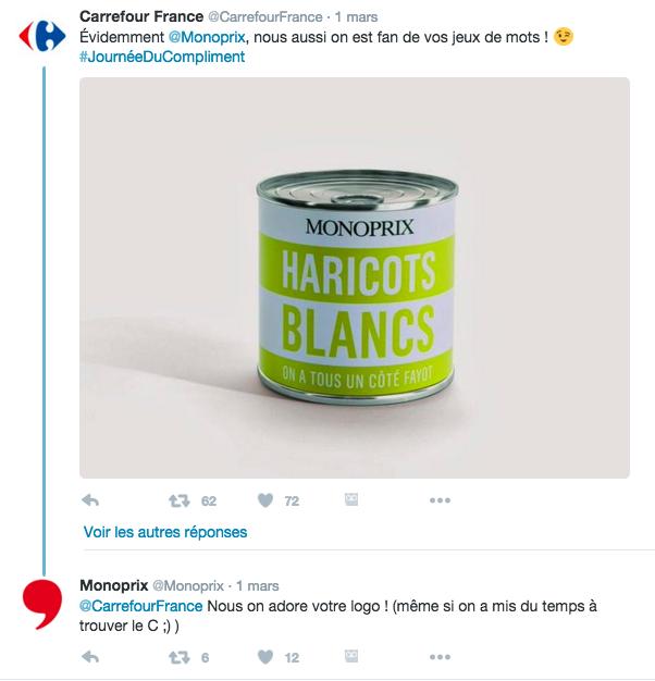Carrefour journée du compliment publicité comparative 3