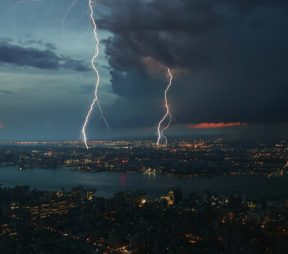 lightening storm over a city