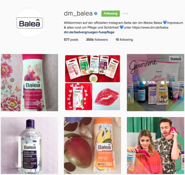 deutsche Unternehmen auf Instagram - Balea