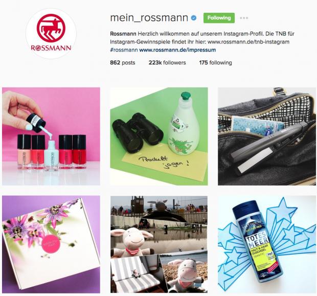 deutsche Unternehmen auf Instagram- Rossmann