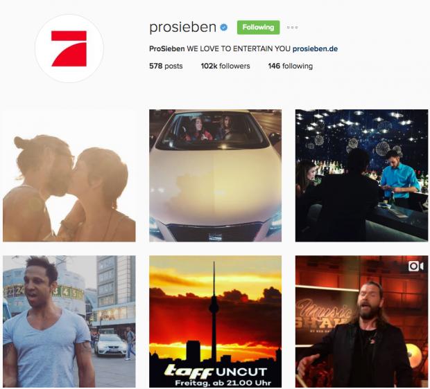 deutsche Unternehmen auf Instagram - Prosieben