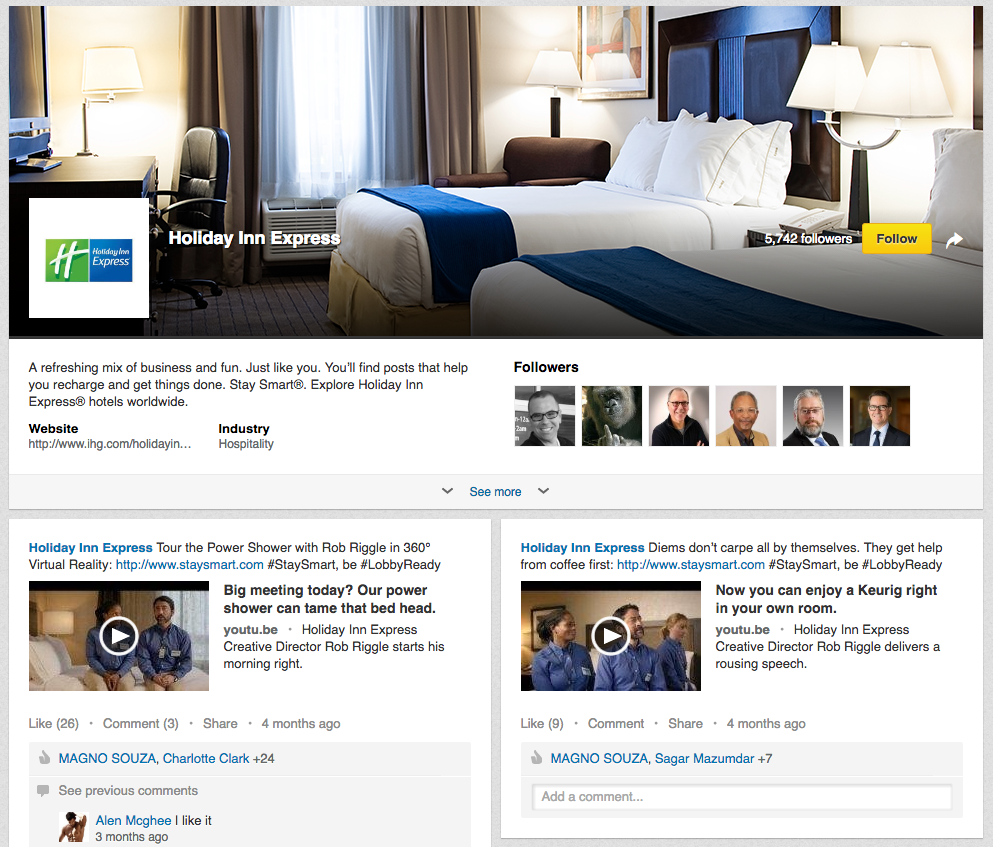 linkedin-holiday-inn-express-company-page |ES: LinkedIn para negocios