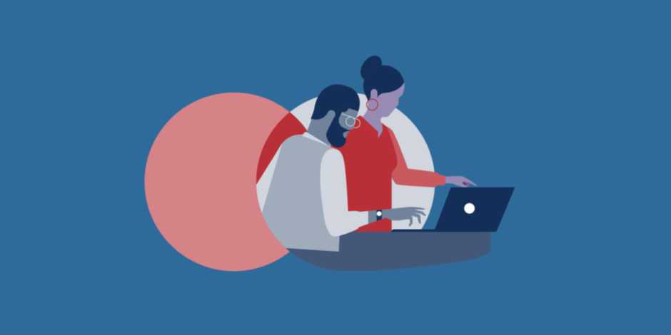 illustration of a man and a woman collaborating over a laptop