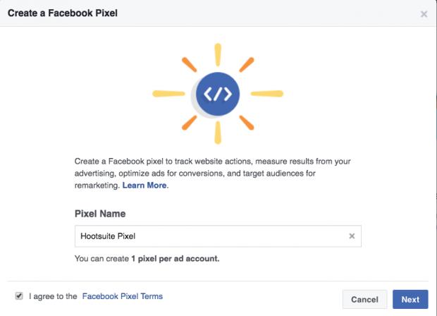 ES: En el tercer paso para crear un Píxel de Facebook debes de darle nombre a tu Píxel