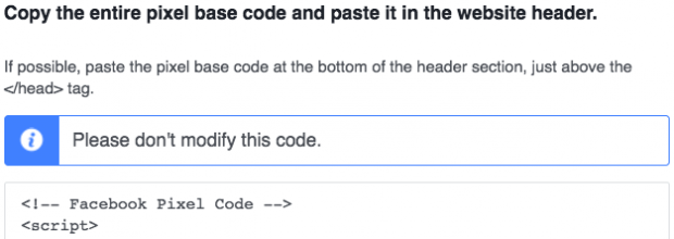 Añade el Píxel de Facebook al código HTML de tu sitio web
