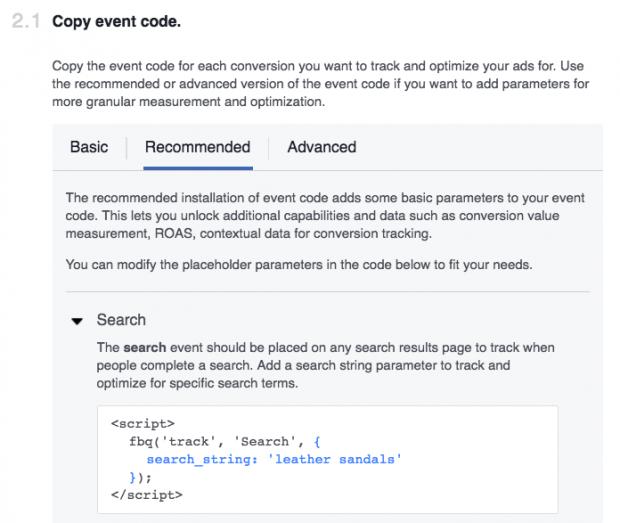 Al insertar un Píxel de Facebook en tu sitio web tienes que copiar el código del evento