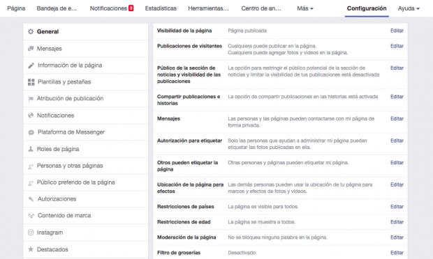 Página de facebook - Paso 6: Completa tu información