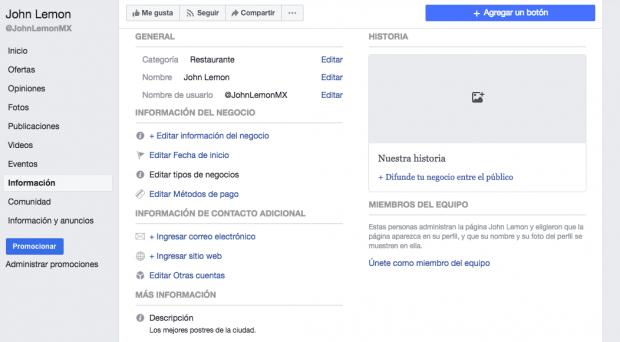 Página de facebook - Información general de la página de Facebook