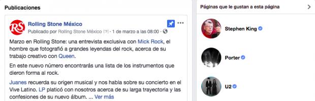Página de facebook - Página de Facebook de Rolling stones México
