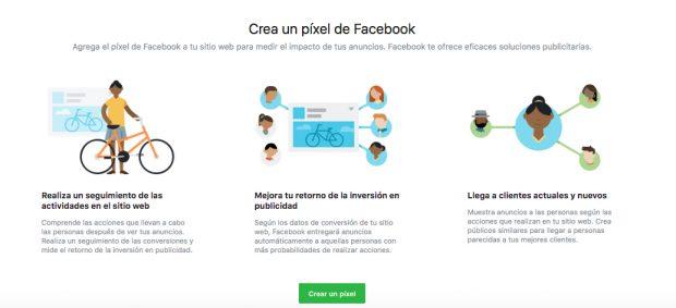 Facebook Pixel - Paso 2: Haz clic en Crear un pixel.