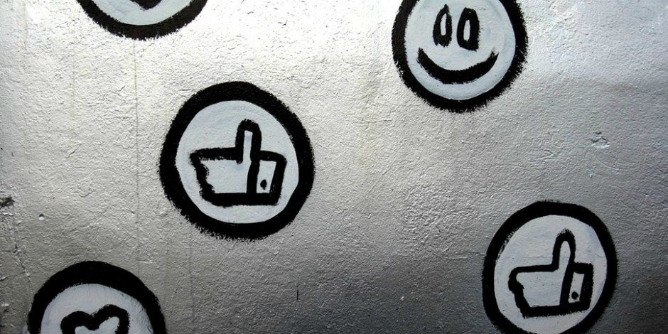 graffiti rendering of thumbs up Like symbol