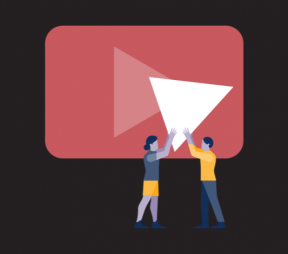 Illustration of two people holding up a giant YouTube play button