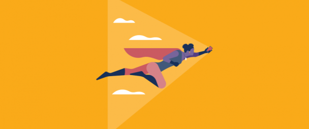 Illustration of a superhero flying through the sky