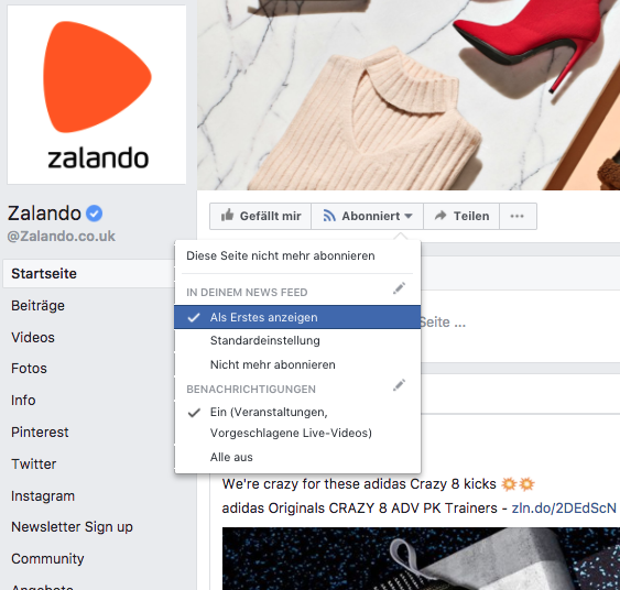 Facebook Newsfeed Änderung
