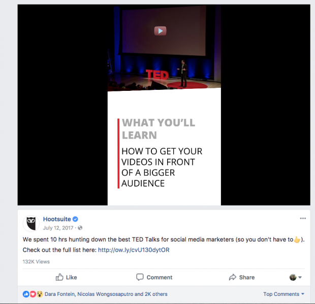 TED Talks Facebook Post Screenshot | Hootsuite Blog