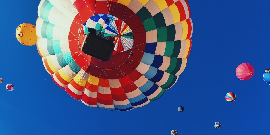 multi-colored hot air balloons in the sky