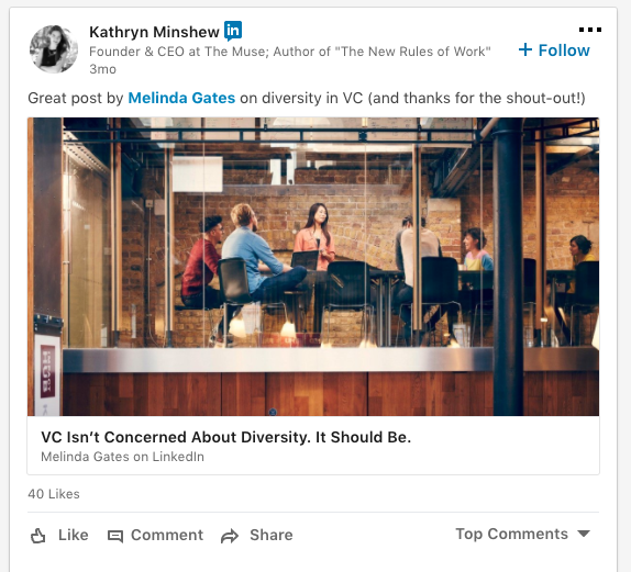 screenshot of a Kathryn Minshew LinkedIn Post