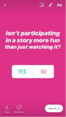 screenshot of an Instagram stories poll