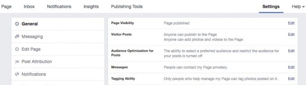 Where to click Settings on your Facebook Page
