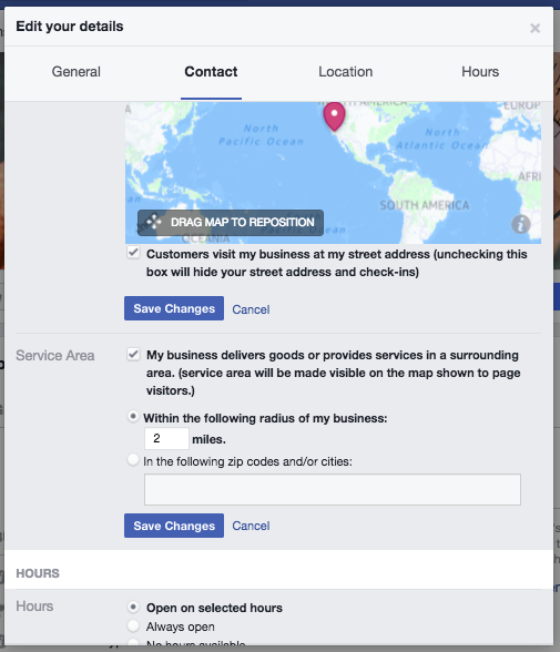 Where to specify your business location and hours on your Facebook page
