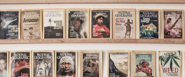 National Geographic magazines on a shelf