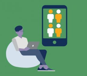 illustration of man sitting on beanbag and working on laptop beside iPhone with 4 people icons on it