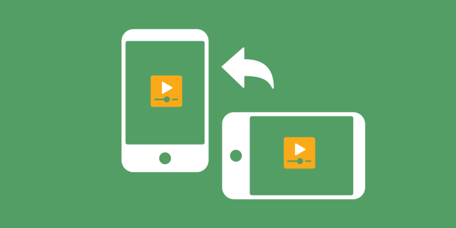 illustration of 2 phones with video players on them, one horizontal, one vertical