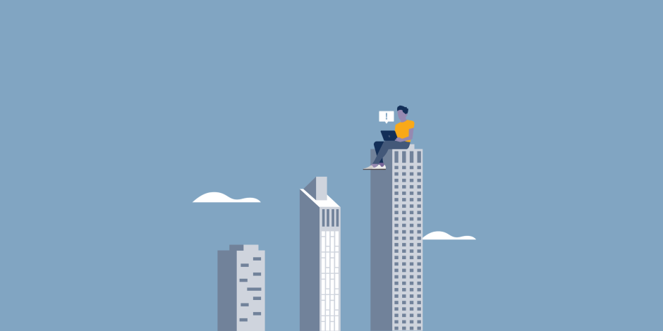 Illustration of a person sitting on top of building with their laptop