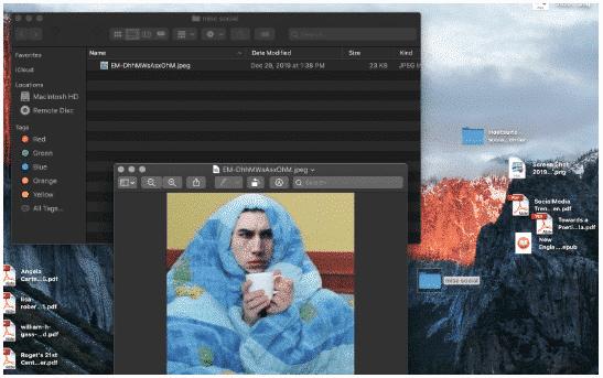 misc folder on author's desktop, containing a meme of Kylo Ren wearing a blanket
