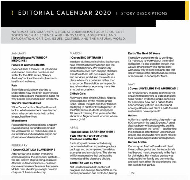 Calendario editorial 2020 de National Geographic