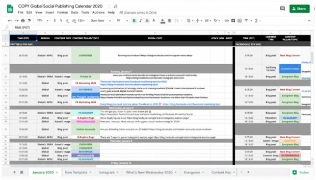 calendario de contenido de redes sociales de Hootsuite