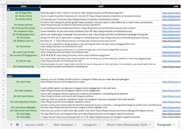 """Calendario de contenido de redes sociales de Hootsuite, pestaña """"Evergreen"""""""