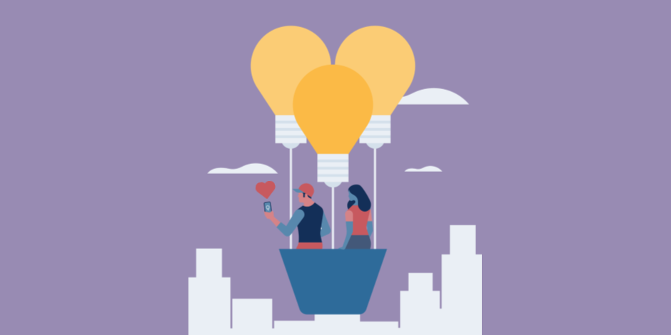 Illustration of two people in a hot air balloon floating over a city and taking a photo with the Instagram app