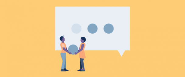 Illustration of two people looking at a text icon