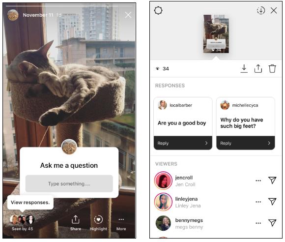 Instagram Questions sticker screenshot
