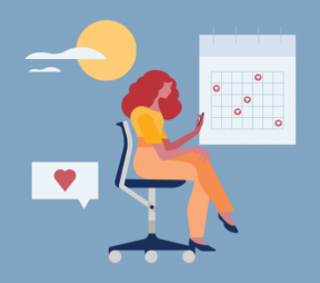 Illustration of a woman in her chair, looking at her phone, with a calendar and Instagram heart icons in the background