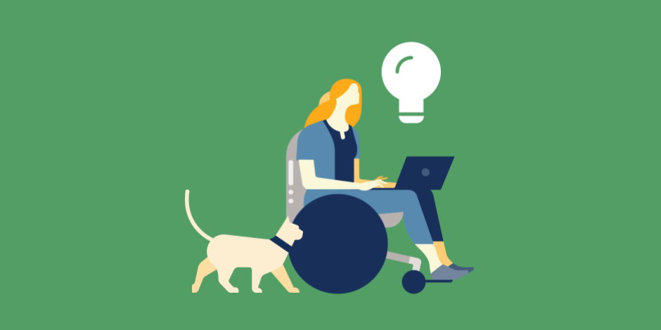 illustration of a woman working on a laptop with a lightbulb over her head