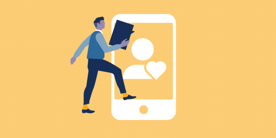 illustration: business man holding a comment box walking into a phone