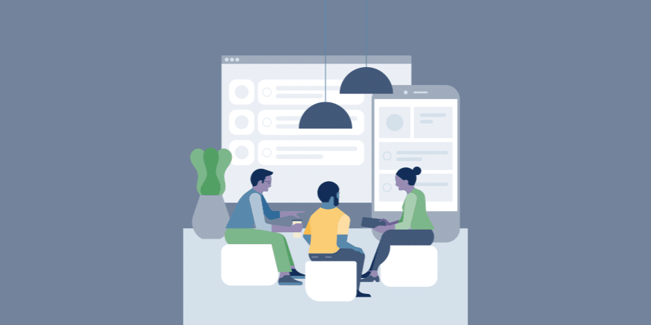 illustration of three people conversing over a work station with laptops and smartphones