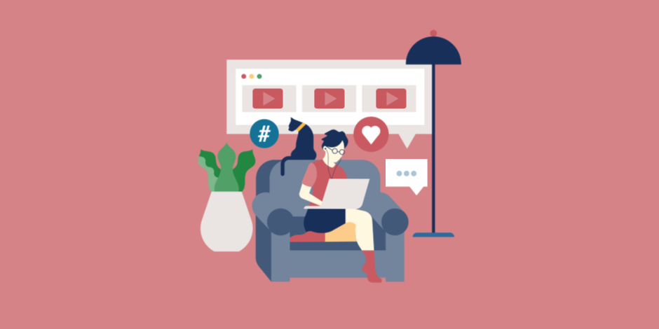 Illustration of a person working on a laptop in chair surrounded by YouTube icons such as play and like buttons.