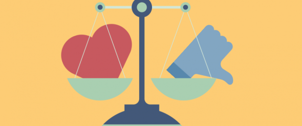 Illustration of a scale with a social media heart icon on one side, and a thumbs down icon on the other