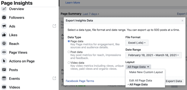 Exporting Insights data from Facebook
