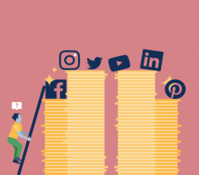 Ilustration of a man climbing a stack of coins with social media icons on top of them.