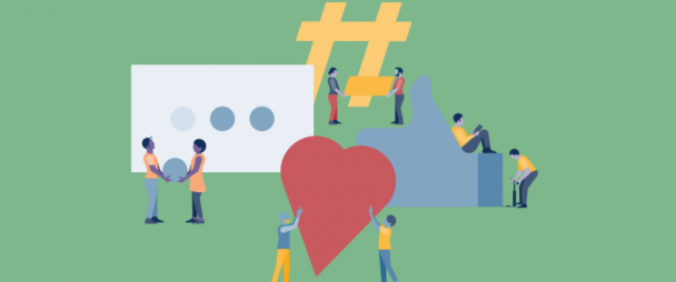Illustration of people assembling giant social media icons and imagery - ie. hearts, text bubbles, hastags, and Facebook Like icons (thumbs up)