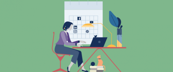 Illustration of a woman scheduling messages on social media in front of a calendar with network icons on it