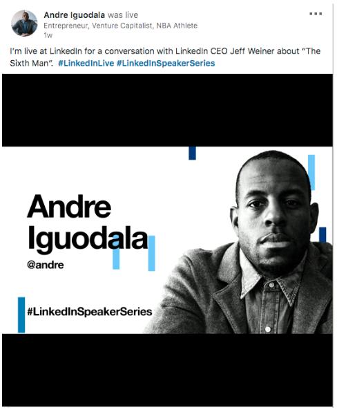 publicación de LinkedIn Live de Andre Iguodala